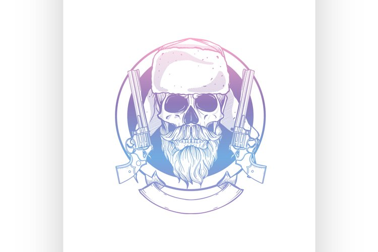 Sketch, skull with beard and mustaches example image 1