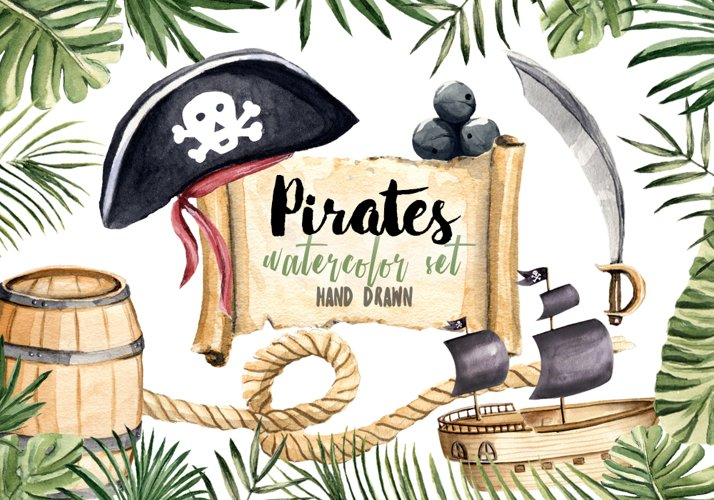 Pirates Clipart Watercolor Set Hand Painted Boy Illustration example image 1