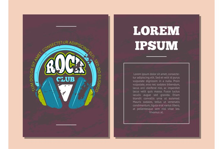 Vector card flyer template with retro rock music club example image 1