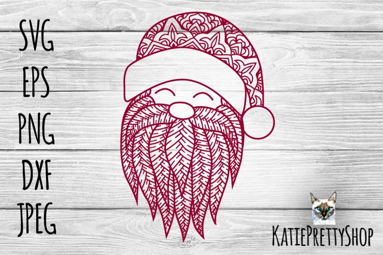 Santa zentangle svg. Zentangle gnome cut file. Christmas svg example image 1
