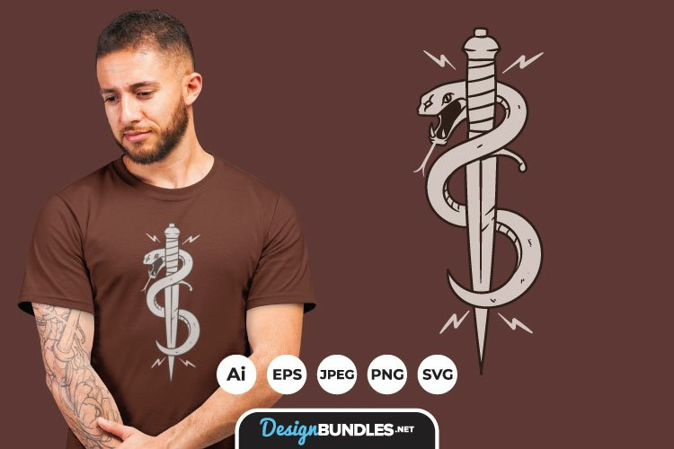 Snake and Dagger for T-Shirt Design example image 1