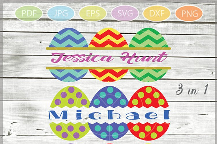 Easter Eggs monogram SVG - Easter bundle mini SVG example image 1