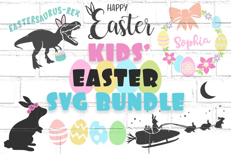 Kids Easter SVG Bundle   Easter Bunny Shirt Designs   Sleigh