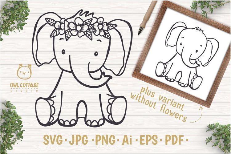 Little Elephant with Flowers Crown Svg , Baby Elephant Cut F example image 1