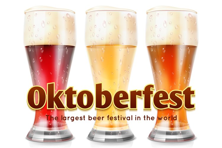 Realistic glasses of beer vector illustration. Oktoberfest b