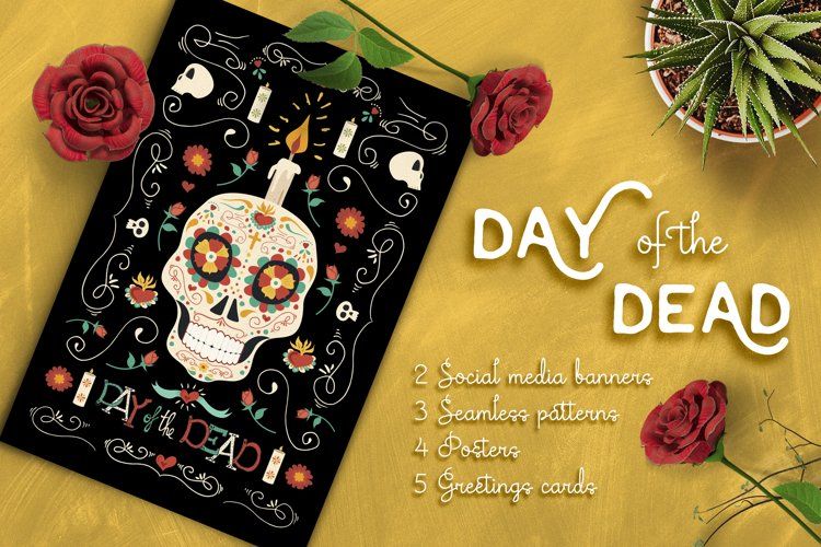 Hand Drawn Day of the Dead Set: skull party!