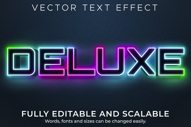 Editable text effect, deluxe neon light text style