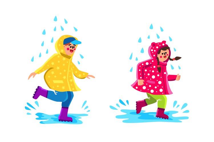 Children Wearing Raincoat Walking Puddles Vector example image 1