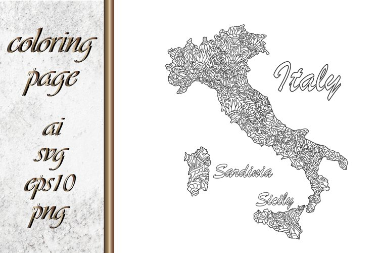 Italy map Coloring page book example image 1