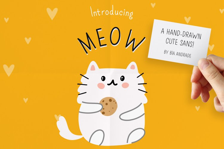 Meow a hand-drawn cute font! example image 1