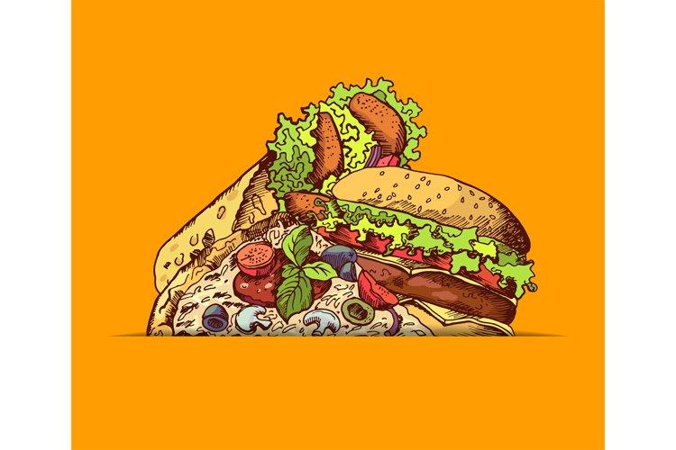 Vector hand drawn fast food burger, taco, pizza illustration example image 1
