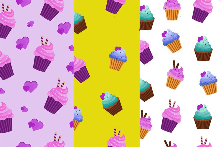 patterns with delicious cream muffin Eps 10 example image 1