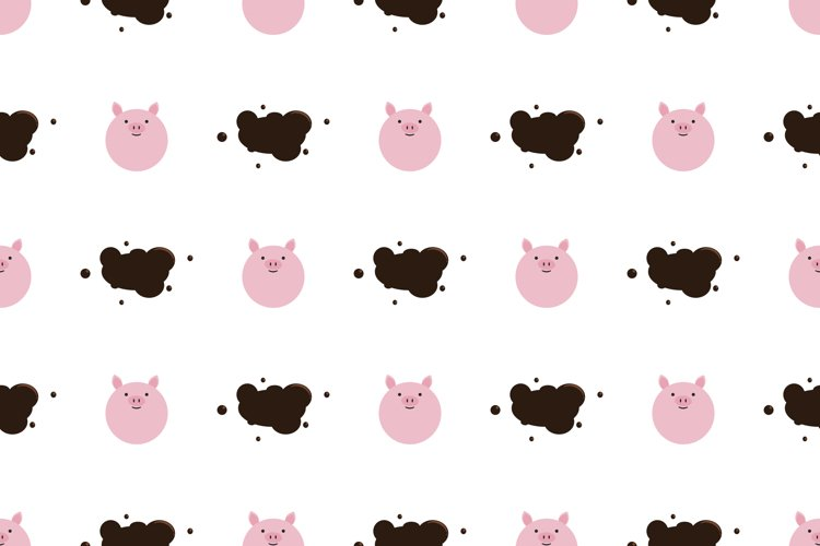Pig character seamless background vector illustration.