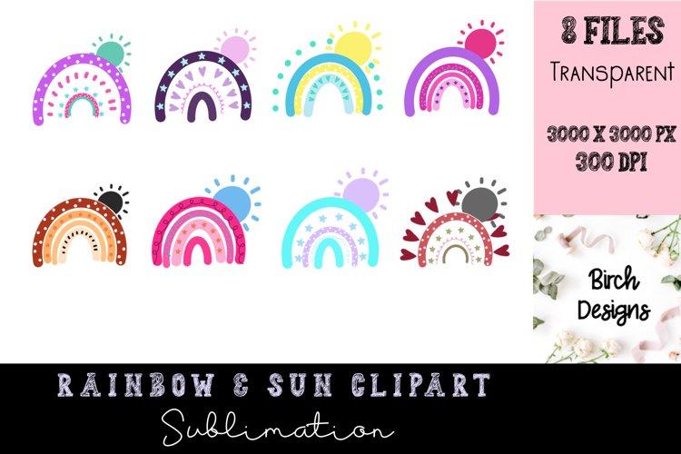Rainbow and Sun Clipart Sublimation