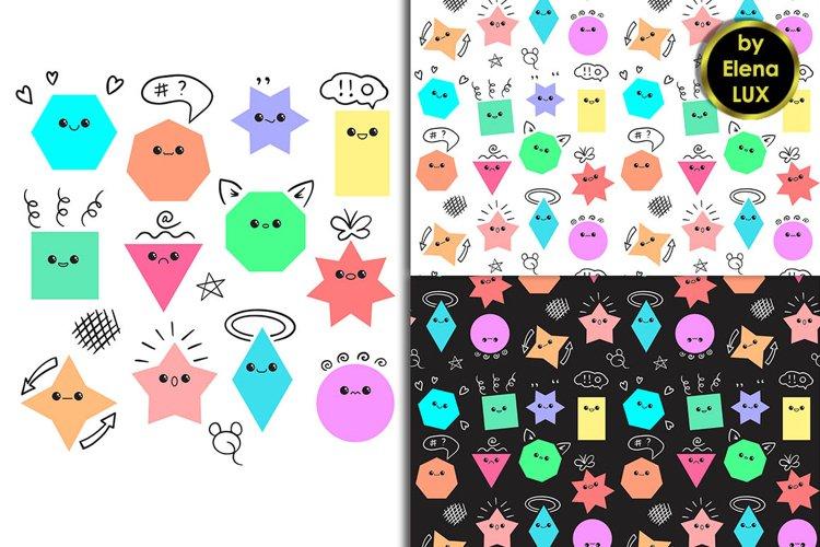 Emoji set and 2 seamless patterns