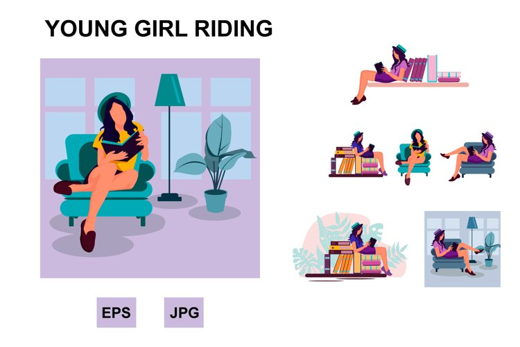 Big vector set of young girl reading example image 1