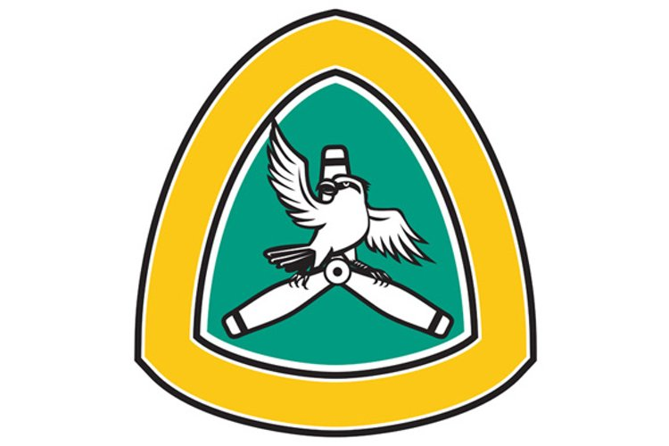 Shrike Perching Propeller Blade Crest Retro example image 1
