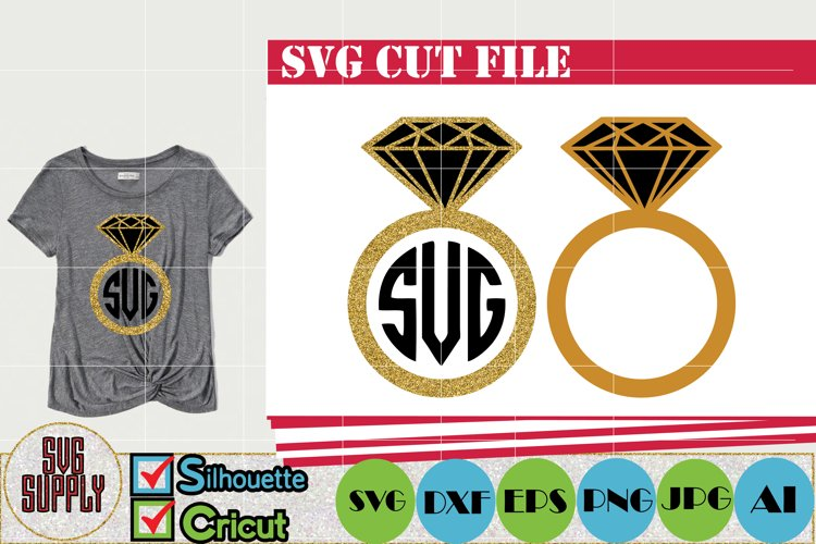 Gold Diamond Ring SVG Cut File example image 1