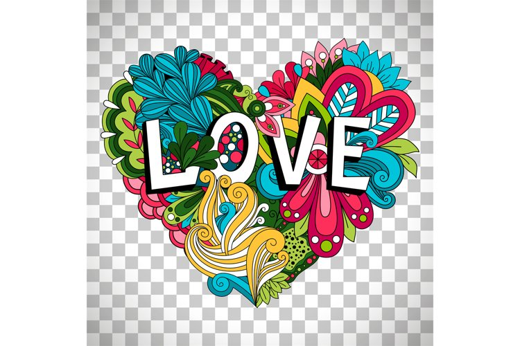 Doodle floral heart on transparent background example image 1