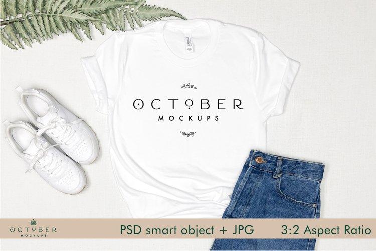 Bella Canvas 3001 Mockup White Shirt | PSD smart object JPG