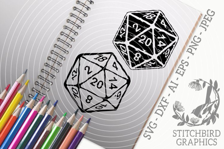 D20 20 distressed twin pack SVG, Silhouette Studio, Cricut example image 1