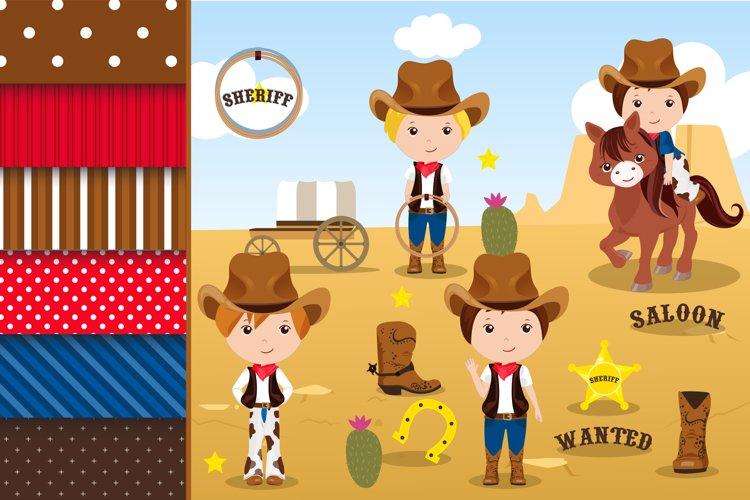 Cowboy illustration, Cowboy digital papers