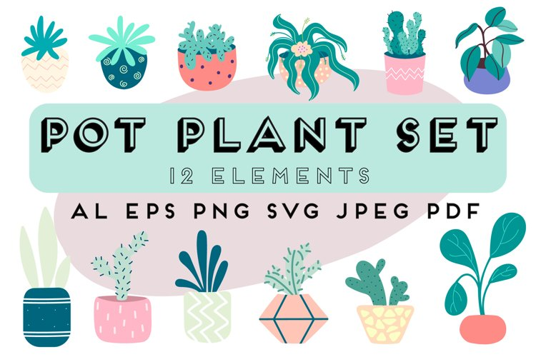 Potted plants | Flower clipart | home decorative plants example image 1