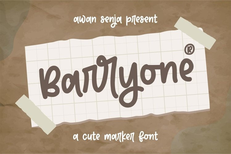 Barryone - Cute Marker Font example image 1