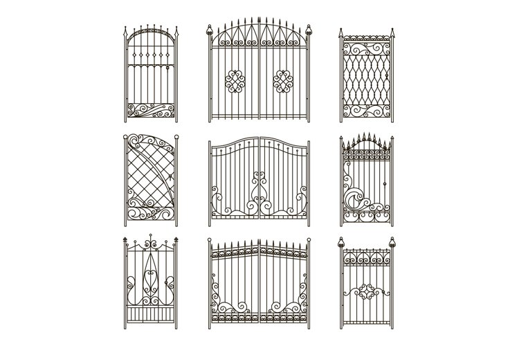 Vector pictures of iron doors or gates with swirls, borders example image 1
