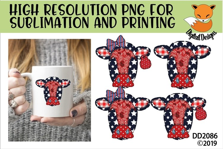 Patriotic Americana Country Faux Patchwork Cow Sublimation