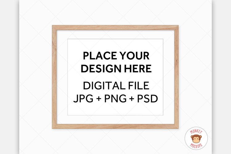Wood Frame Mockup - Poster Mockup for Wall Art Digital Frame example image 1