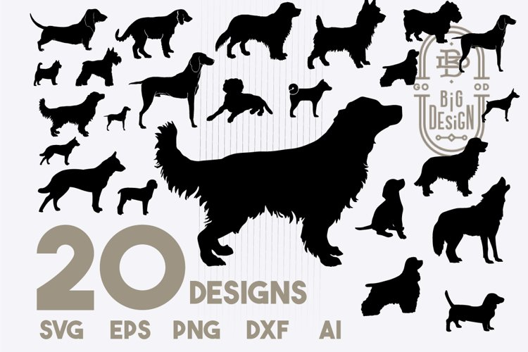SVG Dog Bundle, 20 Dogs SVG Cut Files, Dog silhouette example image 1