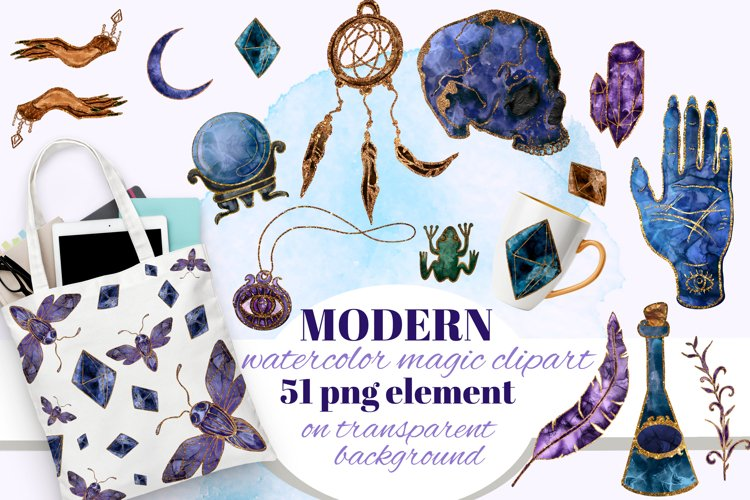 Magic, Occult, Witchcraft, Spiritual watercolor clipart set.