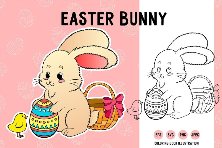 Easter bunny SVG. Rabbit for print sublimation coloring book