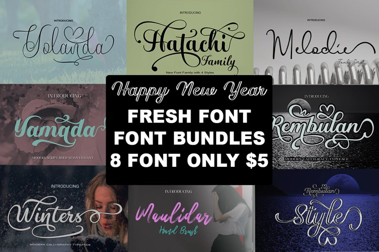 Fresh Bundles Font Script Happy New Year example image 1