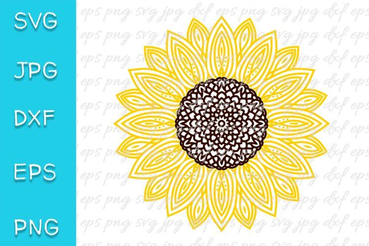 Sunflower SVG. Mandala, zentangle. PNG, EPS, JPEG, DXF file. example image 1