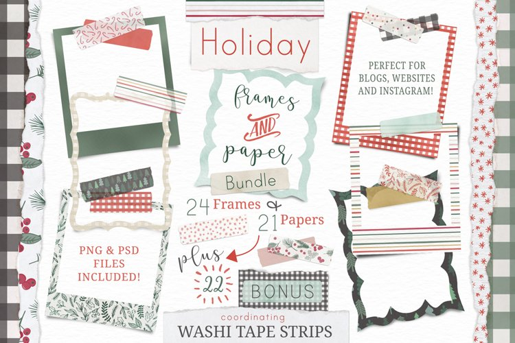 Holiday frames, papers and washi tape
