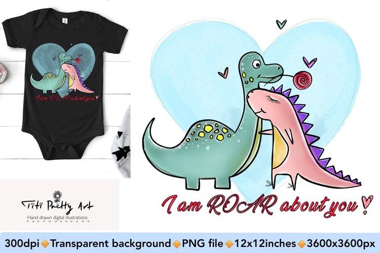 Cute Dinosaur Couple PNG, Valentine Bundle example image 1
