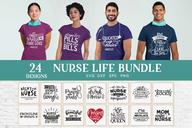24 Nurse Life svg bundle - nurse shirt svg bundle example image 1