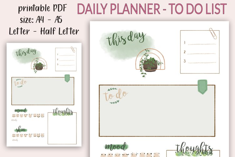 Daily Planner printable PDF - Daily spread - Undated planner