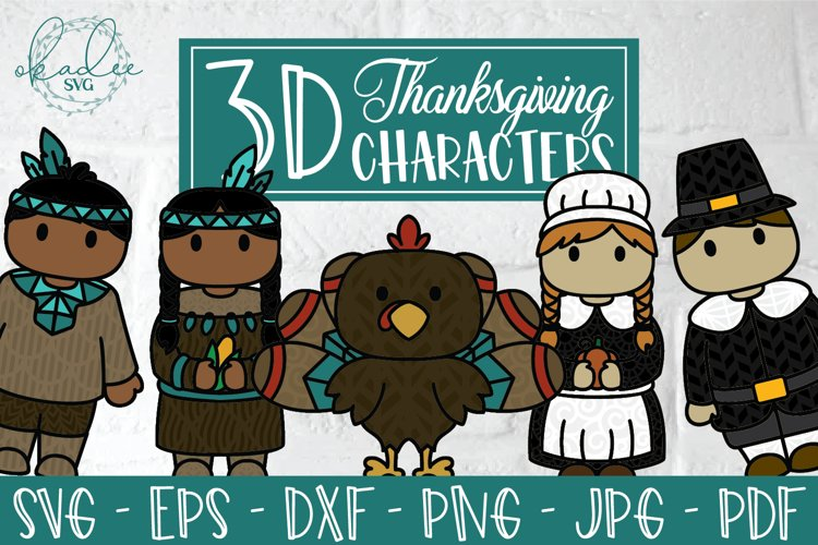 3D Thanksgiving Characters SVG, Papercut Turkey, Pilgrim DXF example image 1