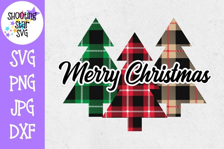 Merry Christmas Buffalo Plaid Trees SVG - Print and Cut