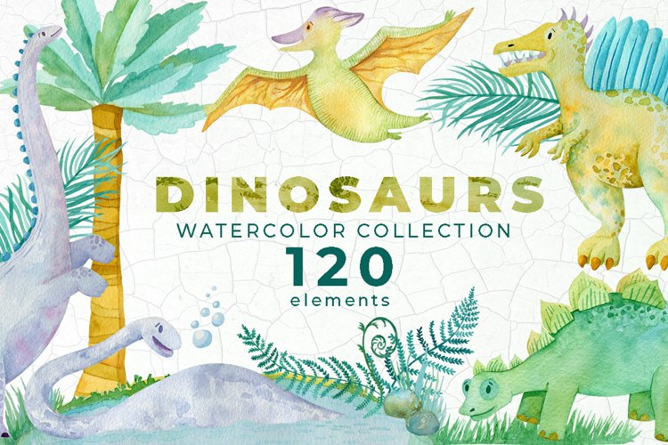 Dinosaur Clipart Watercolor Collection