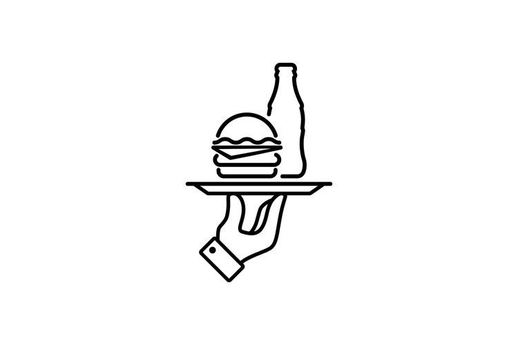 Cheeseburger with coca-cola icon. Vector example image 1