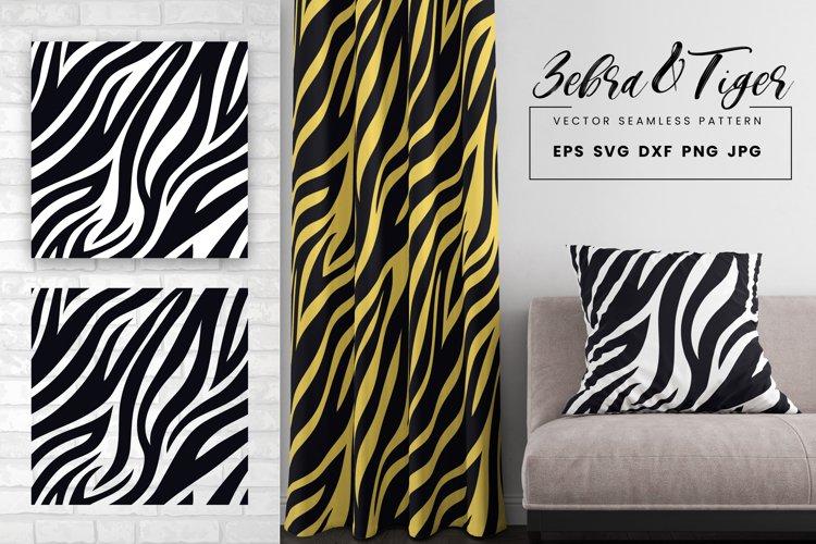 Tiger Zebra Print Seamless Pattern Repeat Animal Texture SVG example image 1