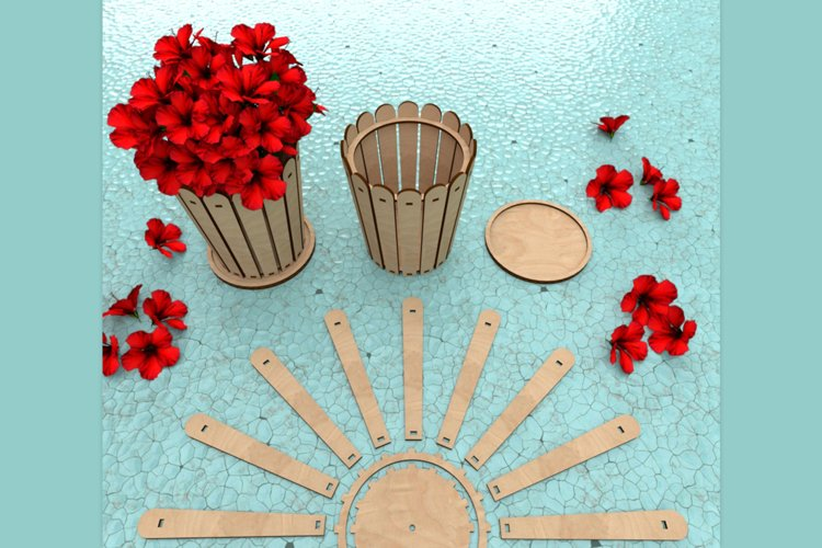 Flower Pot - laser cutting file example image 1