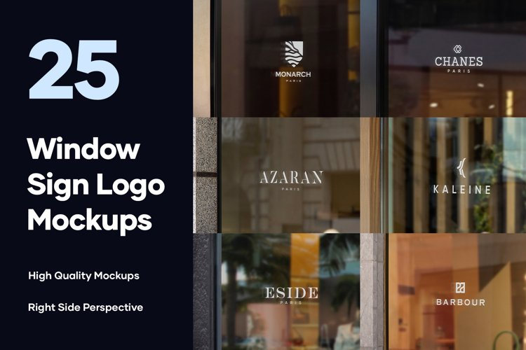 25 Window Signs Logo Mockups