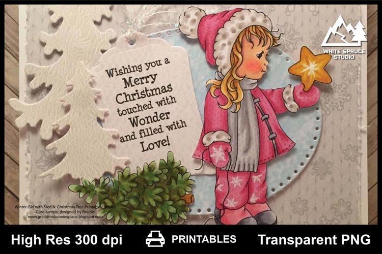 Winter Girl With Sled & Christmas Tree Printable Line Art