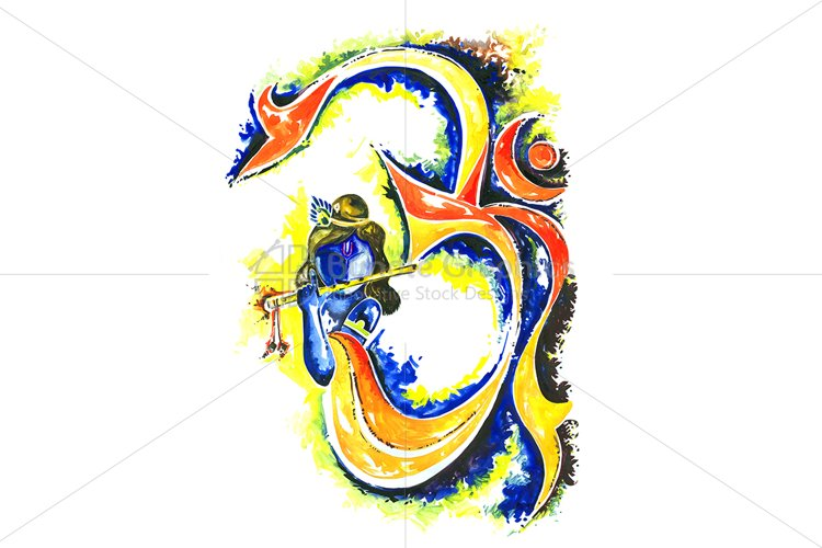 Lord Krishna with Om symbol - Abstract Composition example image 1