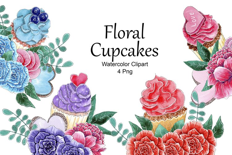 Cupcake Composition Watercolor Clipart, Floral Cupcakes Png example image 1